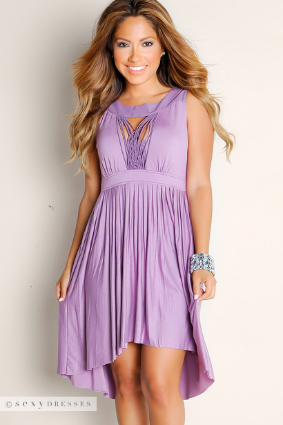 Sexy Purple Summer Romance Flowy Pleated Empire Waist Cut Out High-Low Dress