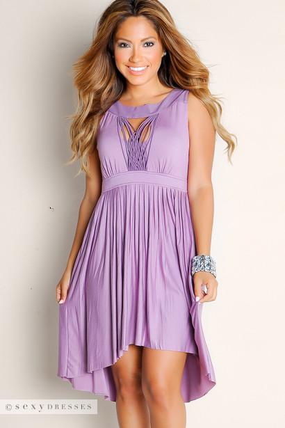 Sexy Purple Summer Romance Flowy Pleated Empire Waist Cut Out High-Low Dress