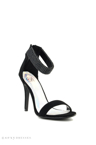 Black Suede 'Tissue' Ankle Strap High Heel