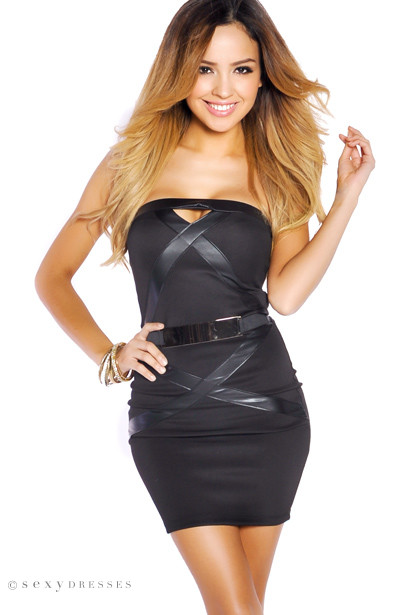 Black Vixen Faux Leather Fitted Dress with Designer Belt