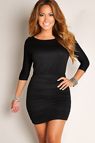 """Davina"" Black Exposed Zipper Back Cut Out Dress"