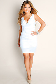 """Sofia"" White Pleated Bodycon Deep V-Neck Dress"