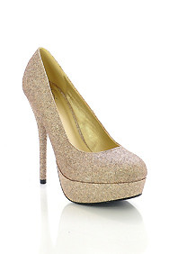 Enchanting Glittery Gold High Heel Platform Pumps