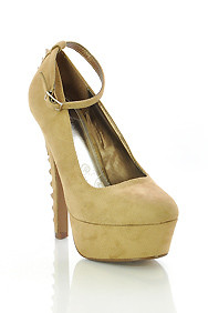 Taupe Micro Suede 'Sniff' Studded Spiked Heel with Ankle Strap Platform Heels