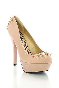 Nude 'Gemini' Gold Studded Spiky Detail High Heel Platform Stilettos