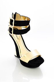 Black 'Nikki' Double Ankle Strap with Curved Heel Platform Shoes