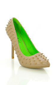 "Taupe Faux Leather 'Sensuous"" Studded Spikes High Heel Stilettos"