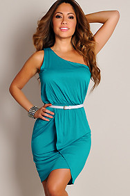 Sexy Teal Green One-Shoulder Belted Asymmetrical Dress