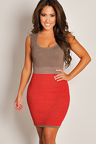 Designer Army Red Two-Toned Textured Sleeveless Formal Dress