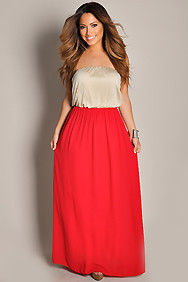 Strapless Red and Nude Duo Maxi Dress