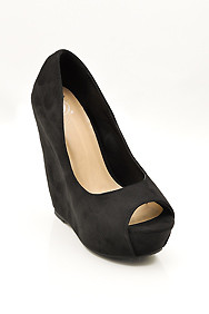 "Black ""Mars"" Peep Toe Wedge Shoes"