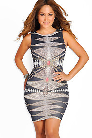 """Damaris"" Black Sleeveless Bodycon Gold Chain Print Dress"