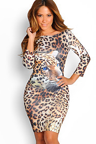 """Tatiana"" Tan and Brown Open Back 3/4 Sleeve Leopard Dresss"
