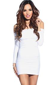 """Amara"" White 3/4 Sleeve Off Shoulder Bodycon Mini Dress"