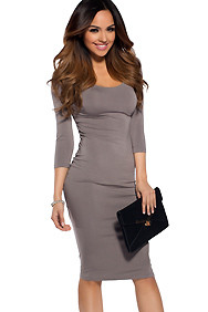 """Ashley"" Simple Grey 3/4 Sleeve Bodycon Casual Dress"