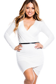 """Giada"" White Bodycon Long Sleeve Wrap Dress"
