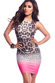Neon Pink and Leopard Fusion Fitted Dress