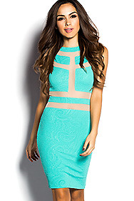 The Jaded Jade Green Textured midi Dress with Nude Sheer Mesh Cutouts