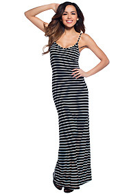 Back to Basic's Black Striped V-Neck Maxi Dress