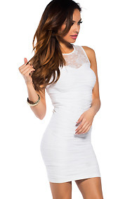 Sexy White Unstoppable Solid Color Lace Panel Wide Strap Dress