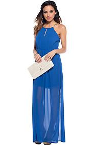 The Raina Midnight Blue Elegant Belted Inset Maxi Dress