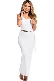 Cute and Casual White Sleeveless Tank Maxi Dress