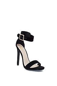 """Dangerous"" 5"" Womens Black Suede Open Toe Sandal High Heel Shoes"