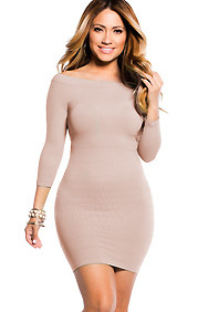 """Amara"" Tan 3/4 Sleeve Off Shoulder Bodycon Mini Dress"