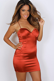 """Valentina"" Red Spaghetti Strap Satin Bustier Dress"