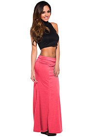 Essential Long Coral Maxi Skirt
