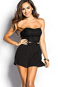 """Madison"" Black Crochet Lace Strapless Romper with Pockets"
