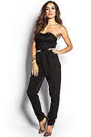 """Jessie"" Black Crochet Lace Strapless Harem Jumpsuit with Pockets"