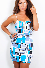 Sexy Dress Designer Front Zipper Gray Blue Brush Strokes