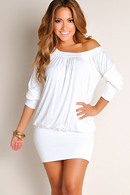 """Elena"" Ivory White Off-the-Shoulder Tunic Dress"