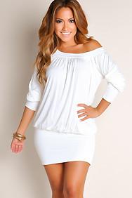 """Elena"" Ivory White Off-the-Shoulder Tunic Dress"