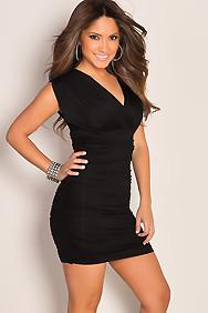 """Giovanna"" Black Cap Sleeve Ruched V Neck Dress"