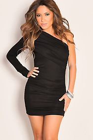 Sexy One Shoulder Sleeve Ruched Little Black Party Dress