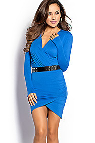 Sexy Blue Cross-Over Long Sleeve Dress