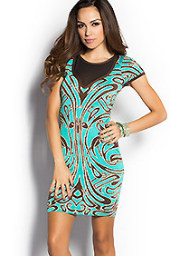 """Brianna"" Teal Abstract Print Short Sleeve Bodycon Sweater Dress"