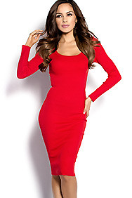 """Nadia"" Red Scoop Neck Ribbed Knit Long Sleeve Bodycon Dress"
