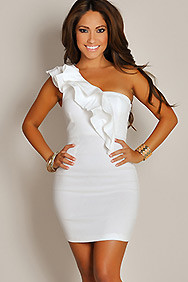 """Blanca"" Bright White Ruffled One Shoulder Cocktail Dress"