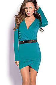 """Giada"" Teal Green Bodycon Long Sleeve Wrap Dress"