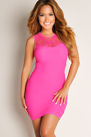 Sexy Fuchsia Pink Unstoppable Solid Color Lace Panel Wide Strap Dress