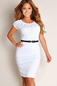 All White Sweetheart Solid Color Belted Waist A-Line Cocktail Dress