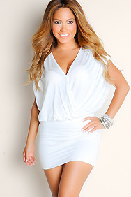 Ivory Grecian Goddess Flowy Plunge Wide Strap Tunic Club Dress