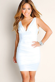 """Sofia"" White Pleated Bodycon Deep V-Neck Dress"