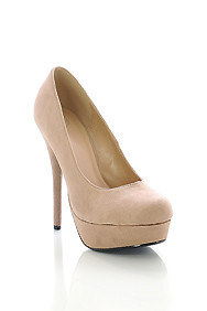Unstoppable Beige Suede High Heel Platform Pump