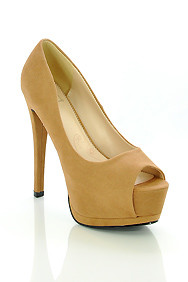 Taupe Faux Suede 'Giant' Peep Toe Platform High Heel Shoes