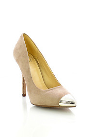 Taupe Faux Suede 'Expo' Pointed Toe High Heel Pumps
