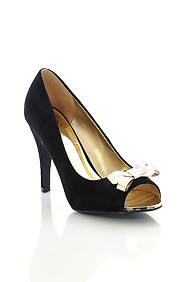 Black Micro Suede 'Idol' Gold Bow Peep Toe Pumps